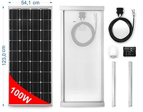 Solarmodul 100 W MONOKRISTALLIN für Wohnmobile. Kit komplett mit Zubehör für die Montage und-Regler 10 A
